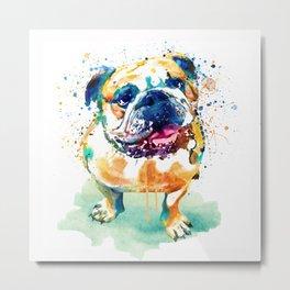 Watercolor Bulldog Metal Print