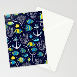 Deep Blue Sea Navy Stationery Cards