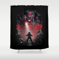 attack on titan Shower Curtains featuring Attack On The Future by Six Eyed Monster