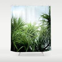 palms Shower Curtains featuring palms by Rick Onorato