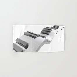 Keyboard of a piano waving on white background - 3D rendering Hand & Bath Towel