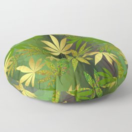Gold Weed Leaves Floor Pillow