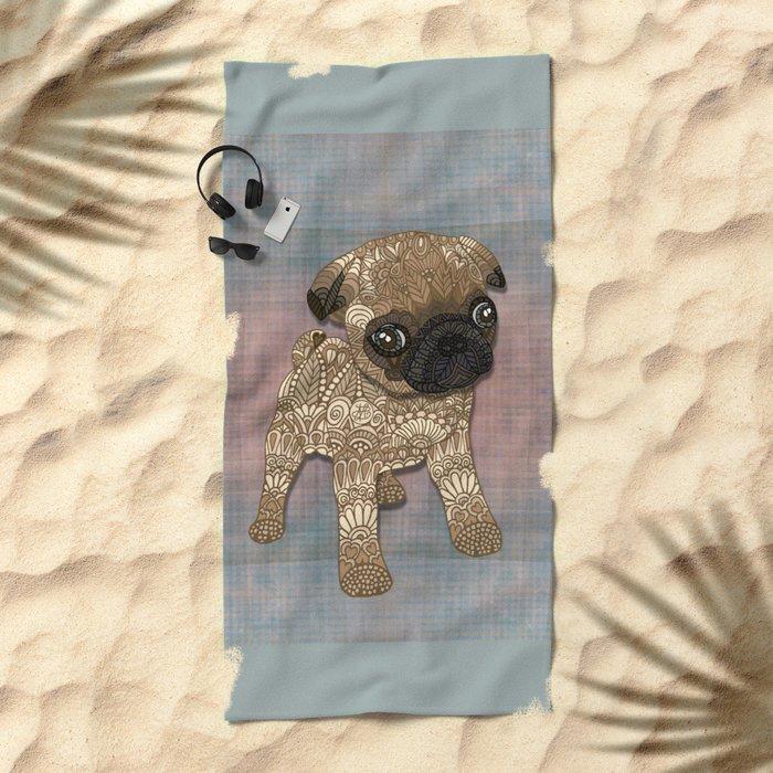 Pug Puppy Beach Towel