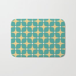 Mid Century Modern Star Pattern 143 Teal and Yellow Bath Mat