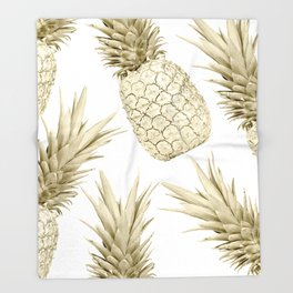 Gold Pineapple Party Throw Blanket