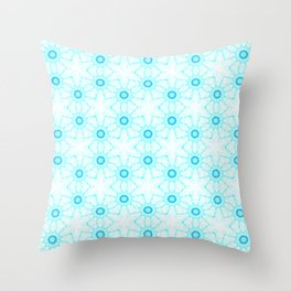 turquoise  white floral geometrical pattern Throw Pillow