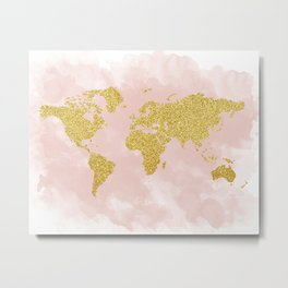 Gold Glitter Map, Nursery Art, Pink Gold, Pastels Metal Print