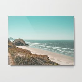 Beach Horizon | Teal Color Sky Ocean Water Waves Coastal Landscape Photograph Metal Print