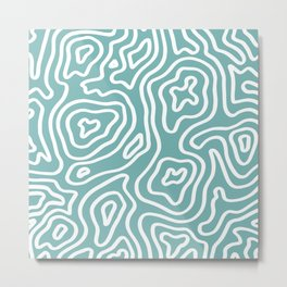 Topographic Abstract | Turquoise Metal Print