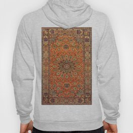 Central Persia Qum Old Century Authentic Colorful Orange Yellow Green Vintage Patterns Hoody