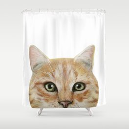 Golden British shorthair, America shorthair, cat, acrylic illustration by miart Shower Curtain