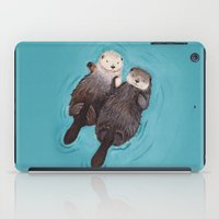 texture iPad Cases featuring Otterly Romantic - Otters Holding Hands by When Guinea Pigs Fly