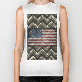 Beige White Digital Camo Chevrons with American Flag Biker Tank