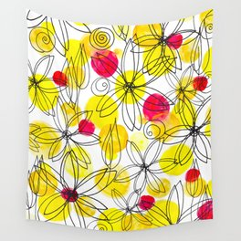 Pineapple Upside Down Floral: Bright Paint Spots with Black Ink Floral Elements Wall Tapestry