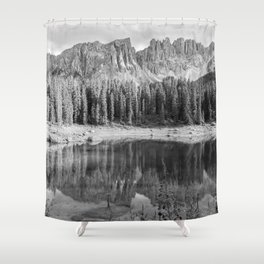 Reflection River (Black and White) Shower Curtain