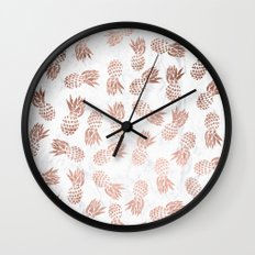 Modern faux rose gold pineapples white marble pattern Wall Clock