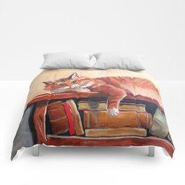 Red cat on a bookshelf Comforters
