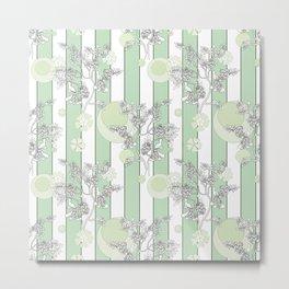 Mint color striped pattern . Metal Print