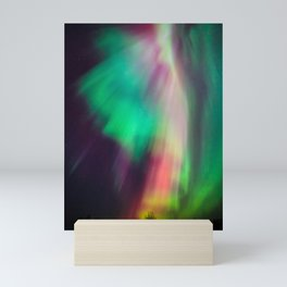Big beautiful multicolored northern lights in Finland Mini Art Print