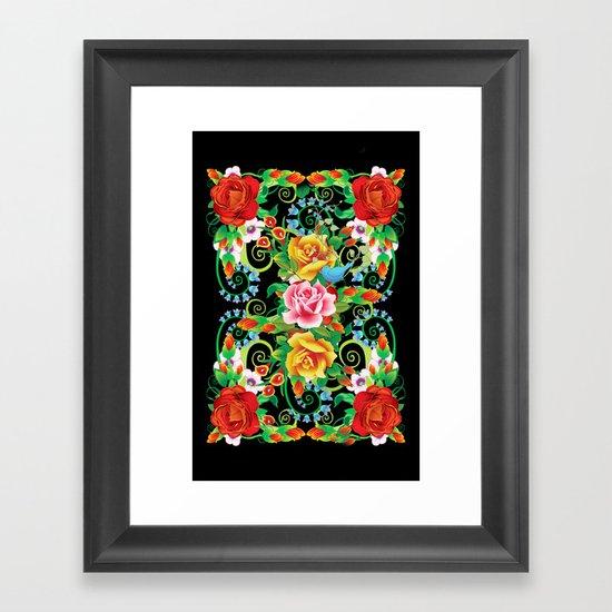 Folkloristic Flowers Framed Art Print