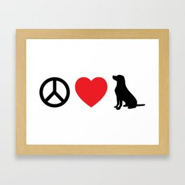 Peace, Love and Labs Framed Art Print