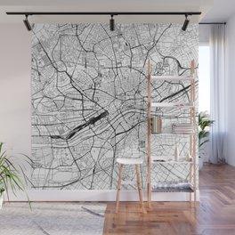 Frankfurt White Map Wall Mural