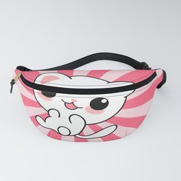 A Cute White Kitty Cat on a Pink Sun Ray Pattern Fanny Pack