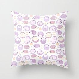Happy Hedgies - Kawaii Hedgehog Doodle Throw Pillow