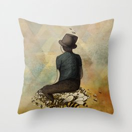 The Boy and his Bees Throw Pillow