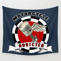 motorcycle Wall Tapestries featuring MOTORCYCLE ADDICTED by Kaweii