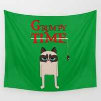 grumpy Wall Tapestries featuring Grumpy time (grumpy cat) by BomDesignz