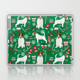 Jack Russell Terrier christmas festive holiday red and green dog lover gifts Laptop & iPad Skin