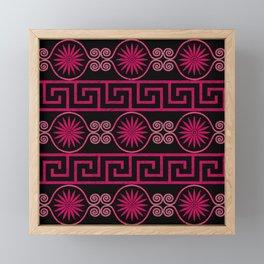 Ornate Greek Bands in Pink Framed Mini Art Print