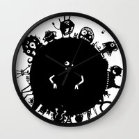 aliens Wall Clocks featuring Aliens On Aliens! by Aaron Lin