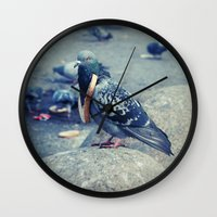 hiphop Wall Clocks featuring HipHop Dove Watch by Sigurdfisk
