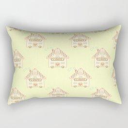 Cute little house cross stitch - light yellow Rectangular Pillow