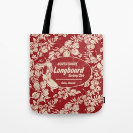 Club Surfing Longboard Surf Logo and Hibiscus Hawaiian Print      Tote Bag