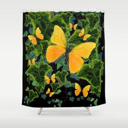 GOLDEN BUTTERFLIES GREEN IVY LEAVES BLACK ART Shower Curtain