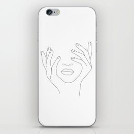 Minimal Line Art Woman with Hands on Face iPhone Skin