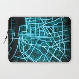Baton Rouge, LA, USA, Blue, White, Neon, Glow, City, Map Laptop Sleeve