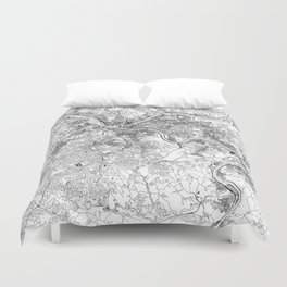 Pittsburgh White Map Duvet Cover