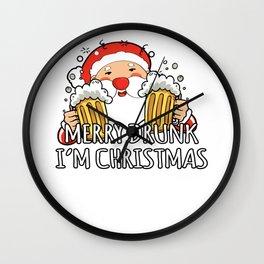Merry Drunk I'm Christmas Santa Claus Beer Wall Clock