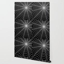 Spiderweb   Silver Glitter Wallpaper