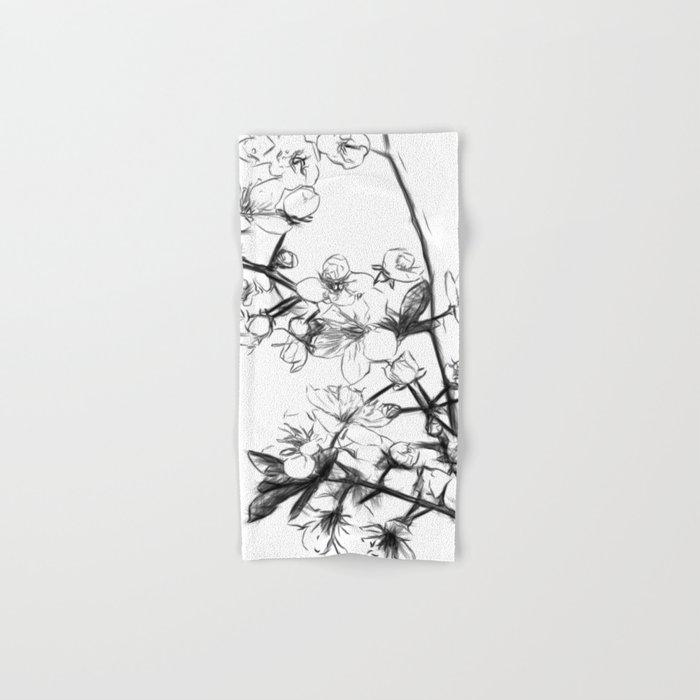 Cherry Blossoms Minimal Drawing Hand & Bath Towel
