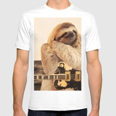 Rockstar Sloth LARGE White Mens Fitted Tee