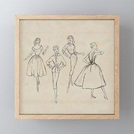 Vintage Fashion Sketches Framed Mini Art Print