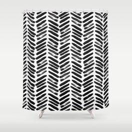 Simple black and white handrawn chevron - horizontal Shower Curtain