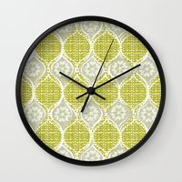 sweater Wall Clocks featuring snowflake sweater by ottomanbrim