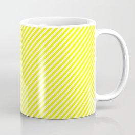 Mini Bright Fluorescent Yellow and White Candy Cane Stripes Coffee Mug