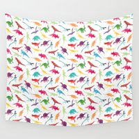 dinosaurs Wall Tapestries featuring Watercolour Dinosaurs by Jasper&Pud